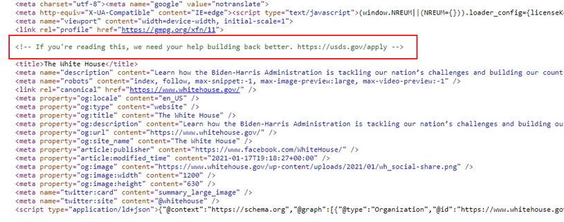 """Wiadomość zaszyta w kodzie strony - """"If you're reading this, we need your help building back better"""". Co można przetłumaczyć jako: """"Jeśli to czytasz, potrzebujemy twojej pomocy w budowie lepszego backendu (w uproszczeniu: administracyjny i hostingowy aspekt strony WWW)"""