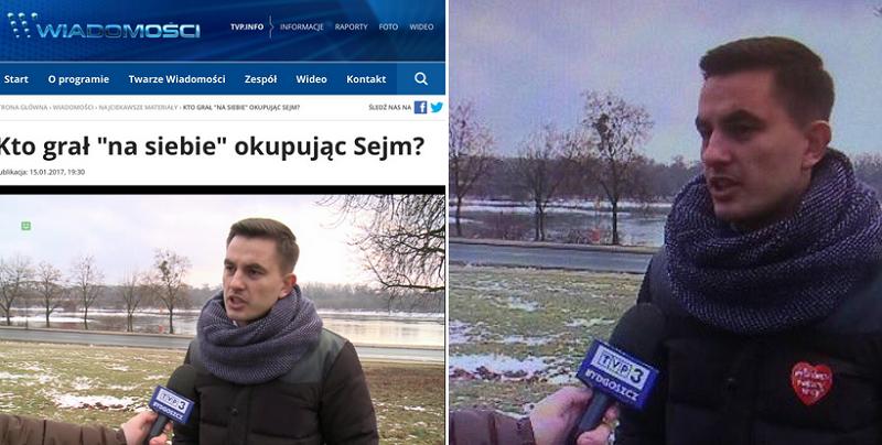 """""""Wiadomości"""" usunęły logo WOŚP z kurtki posła? Wiele na to wskazuje /Piotr Witwicki /Twitter"""