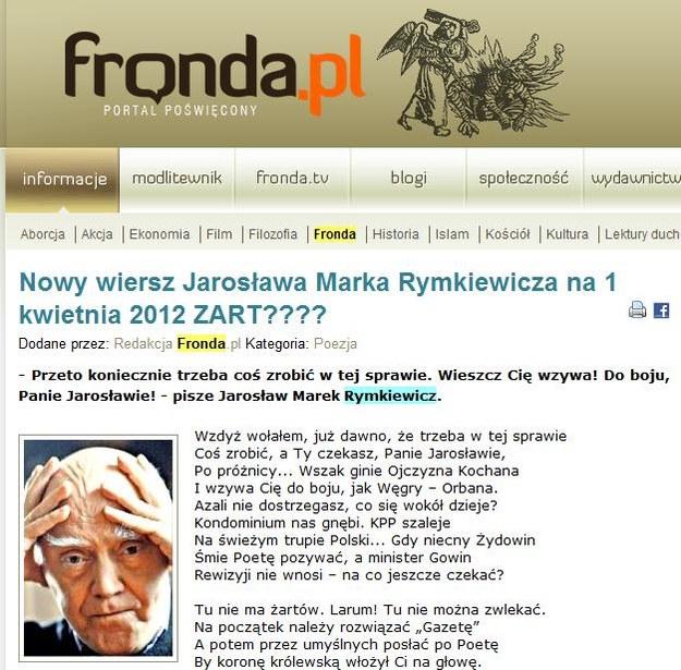 """Wiara, nadzieja, miłość do poezji... /Ze strony """"Fronda.pl"""" /INTERIA.PL"""