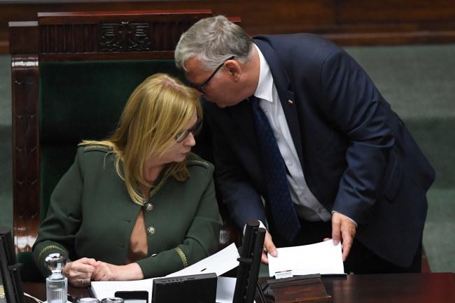 Wicemarszałek Sejmu Małgorzata Gosiewska i poseł PiS Marek Suski / Radek Pietruszka   /PAP