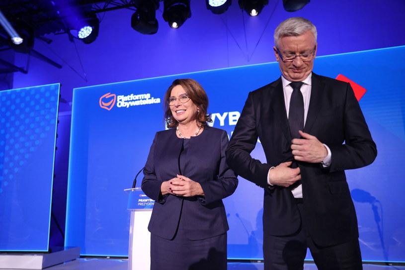 Wicemarszałek Sejmu Małgorzata Kidawa-Błońska oraz prezydent Poznania Jacek Jaśkowiak podczas konwencji krajowej PO /Leszek Szymański /PAP
