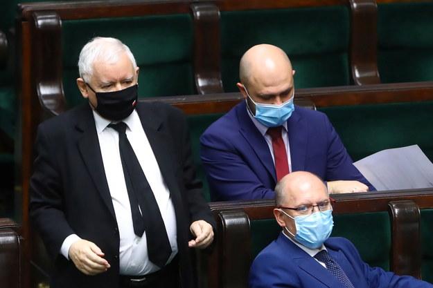 Wicepremier Jarosław Kaczyński na sali posiedzeń Sejmu /Rafał Guz /PAP