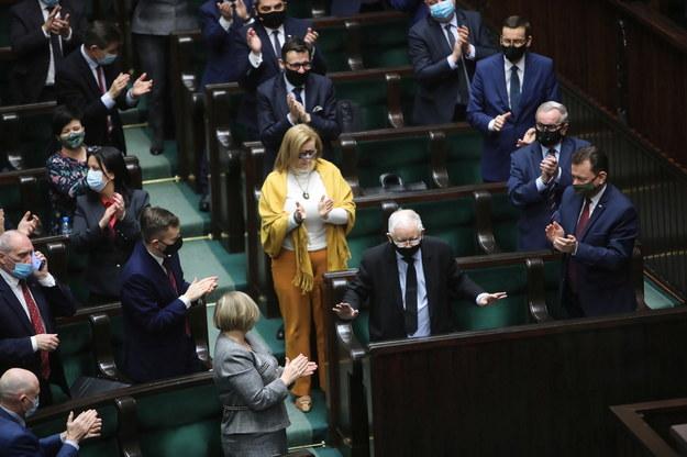 Wicepremier Jarosław Kaczyński, wicemarszałek Sejmu Małgorzata Gosiewska i minister obrony narodowej Mariusz Błaszczak /Wojciech Olkuśnik /PAP