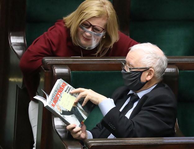 Wicepremier, prezes PiS Jarosław Kaczyński i wicemarszałek Sejmu Małgorzata Gosiewska / Tomasz Gzell    /PAP