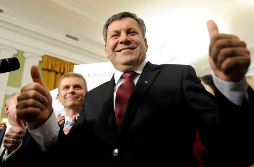 Wicepremier, prezes PSL Janusz Piechociński podczas wieczoru wyborczego Polskiego Stronnictwa Ludowego /Bartłomiej  Zborowski /PAP
