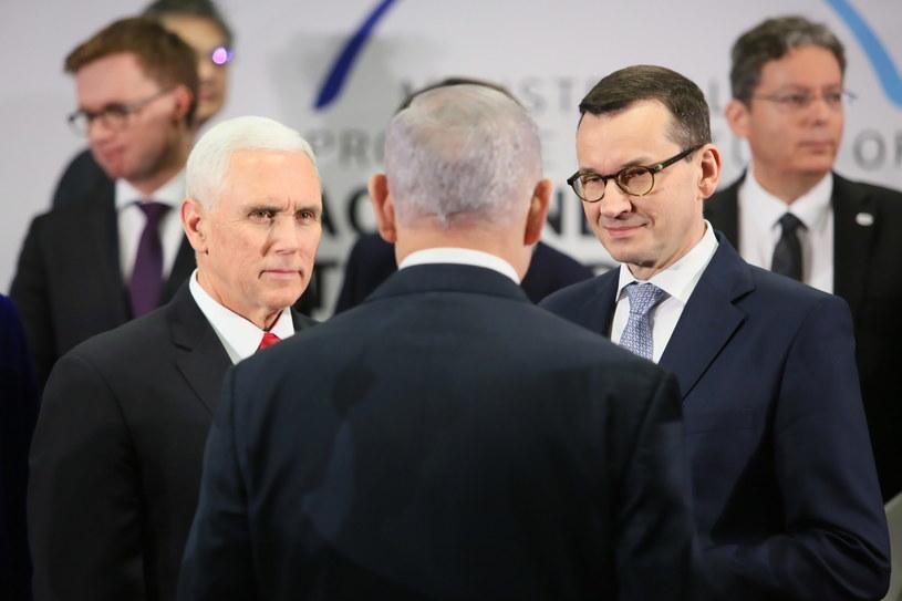 Wiceprezydent USA Mike Pence, premier RP Mateusz Morawiecki i premier Izraela Benjamin Netanjahu w Warszawie / Leszek Szymański    /PAP