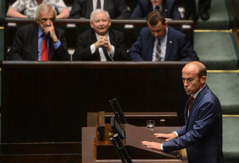 Wiceprzewodniczący PO Borys Budka (P), podczas posiedzenia Sejmu /Jakub Kamiński   /PAP