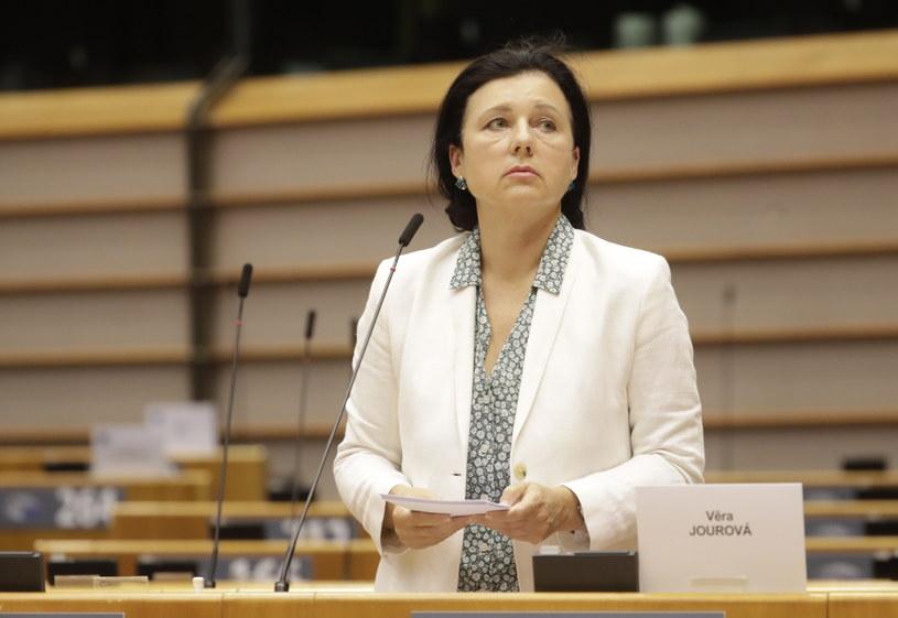 Wiceszefowa KE Viera Jourova podczas debaty w PE /OLIVIER HOSLET /PAP/EPA
