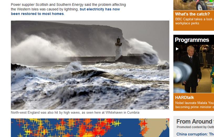Wichura spiętrza na otwartym morzu fale do 18 metrów wysokości (zdjęcie z serwisu bbc.com) /