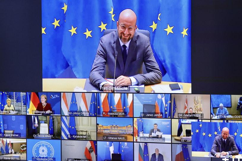 Wideokonferencja liderów państw i rządów krajów członkowskich /OLIVIER MATTHYS    /PAP/EPA