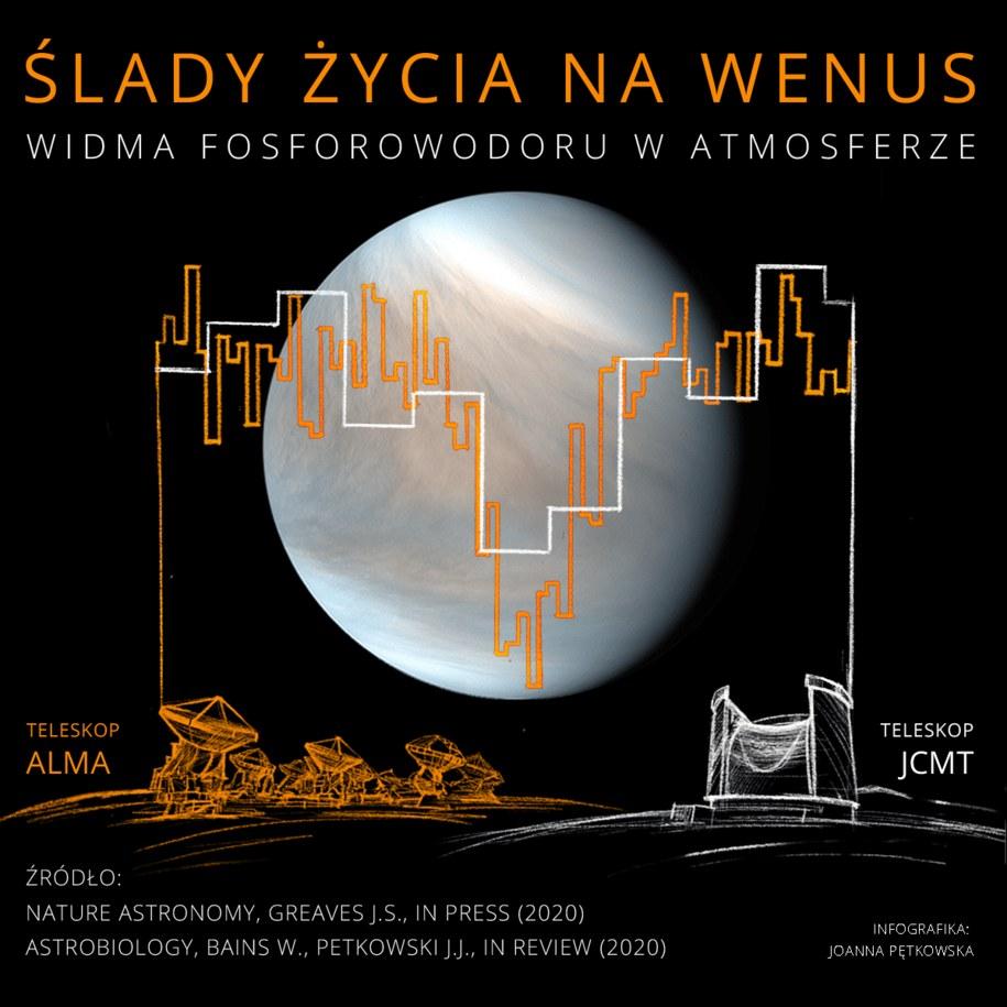 Widma fosforowodoru w atmosferze Wenus /Joanna Pętkowska /Materiały prasowe