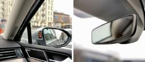 Widoczna poprawa – mimo wbudowanych w szybę czujników zmierzchu i deszczu fotochromatyczne lusterko wsteczne powróciło rozmiarami do standardów sprzed 20 lat. Dzięki przeniesieniu bocznych lusterek na drzwi poprawiła się też widoczność na boki. Żółta lampka w obudowie informuje o pojazdach w martwym polu. /Auto Moto
