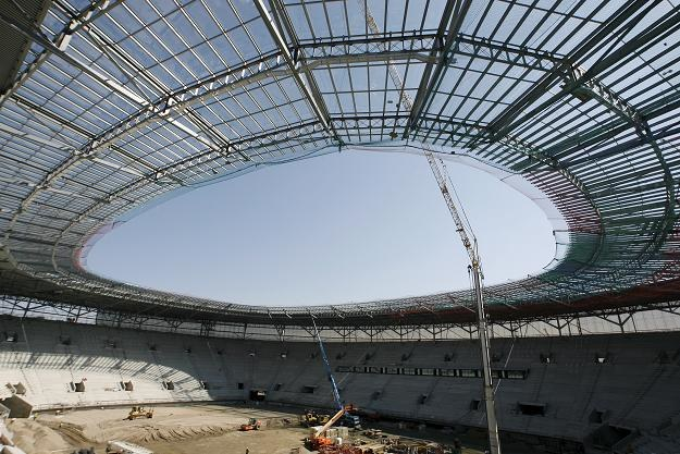 Widok budowanego stadionu na Euro 2012 we Wrocławiu /PAP