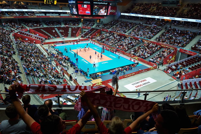 Widok na Ergo Arenę w czasie meczu Rosjan z Chinami /Adam Warżawa /PAP