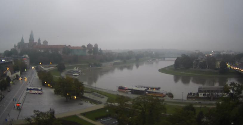 Widok na zakole Wisły w Krakowie z godziny 7:00 /WebCamera /