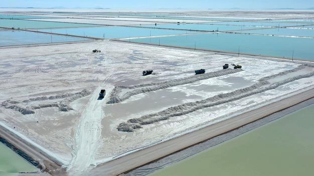 Widok z lotu ptaka nowego państwowego kompleksu do ekstrakcji litu, w płd. strefie Uyuni Salt Flat /AFP