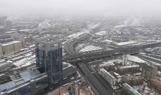 Widok z Wieży Wostok (Wschód) w moskiewskim Międzynarodowym Centrum Biznesu na stolicę Rosji /EPA