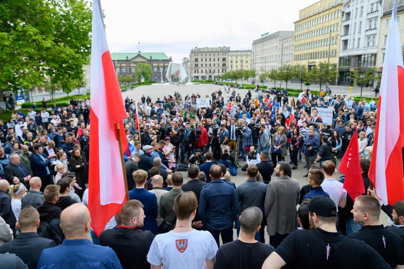 Wiec Krzysztofa Bosaka w Poznaniu, 7 czerwca 2020 roku. /Jakub Kaczmarczyk /PAP