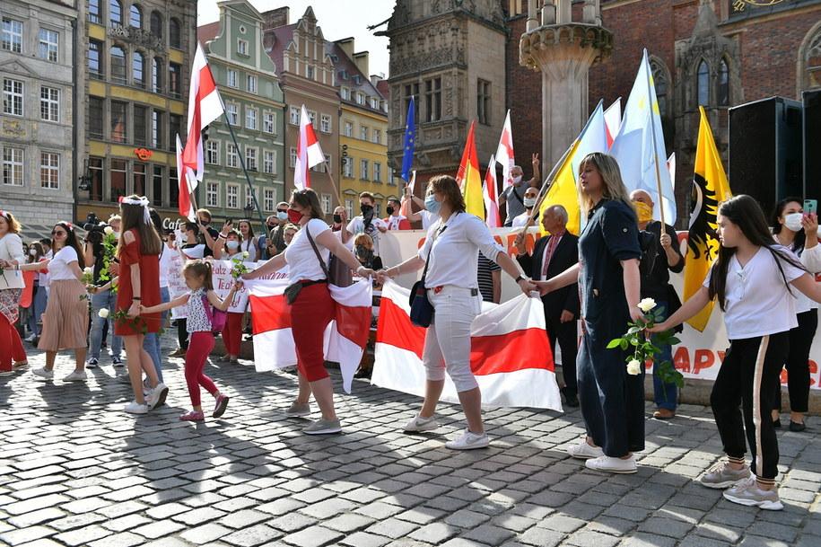 Wiec poparcia dla Białorusinów we Wrocławiu / Maciej Kulczyński    /PAP