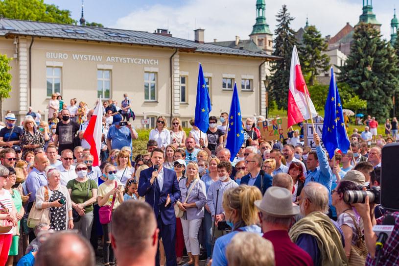 Wiec Rafała Trzaskowskiego w Kielcach /Grzegorz Ksel /Reporter