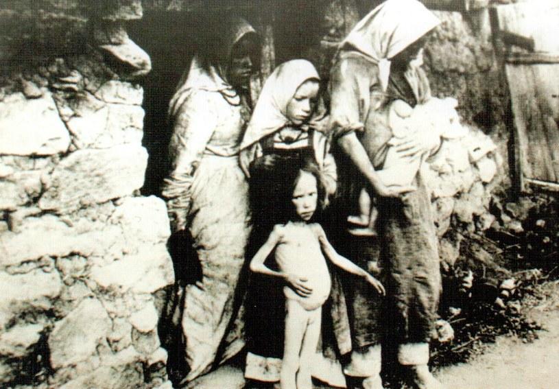 Wielki Głód na Ukrainie. Na pierwszym planie dziewczynka z brzuszkiem wzdętym z głodu /Domena publiczna /INTERIA.PL/materiały prasowe
