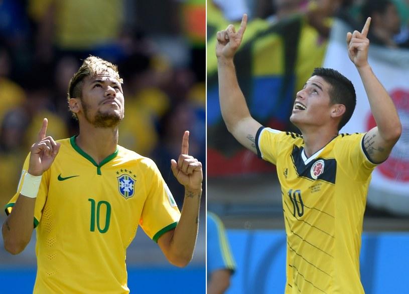 Wielkie gwiazdy mundialu: Brazylijczyk Neymar i Kolumbijczyk James Rodriguez /AFP