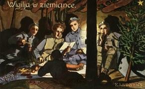 """""""Wigilia w ziemiance"""" (Wojsko Polskie), mal. Z. Plewińska, lata 20. Wydawnictwo K. Wojutyńskie w Warszawie"""