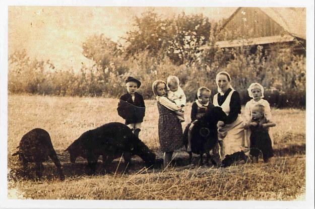 Wiktoria Ulma ze swoimi dziećmi - pół roku przed tragedią. Zdjęcie wykonane przez Józefa Ulmę (z archiwum Mateusza Szpytmy) /Archiwum autora