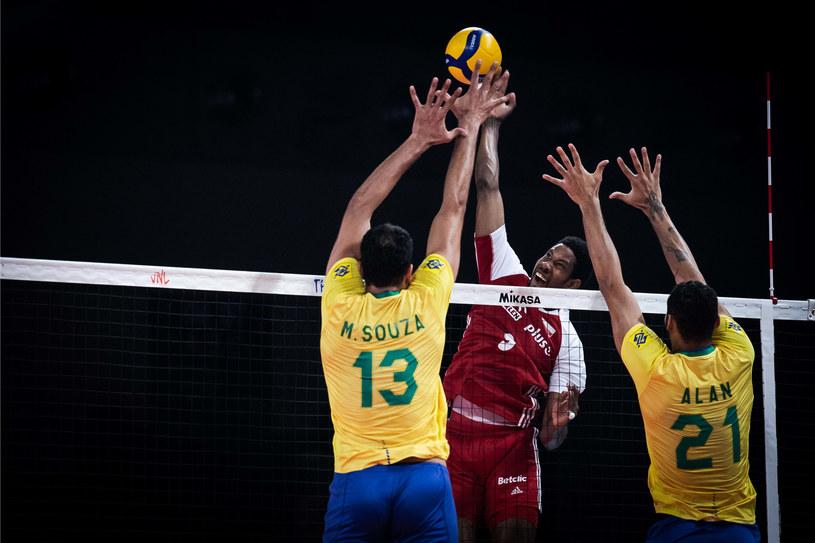 Wilfredo Leon w meczu finałowym Ligi Narodów z Brazylią Fot. FIVB /