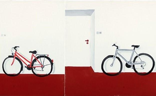 Wilhelm Sasnal, Rower damski, Rower męski, 1999 rok, olej, płótno, kolekcja Galerii Bielskiej BWA /materiały prasowe