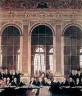 Wiliam Orpen, Traktat Wersalski, 28 VI 1919 r. delegacja niemiecka podpisuje traktat w sali lustrzan /Encyklopedia Internautica