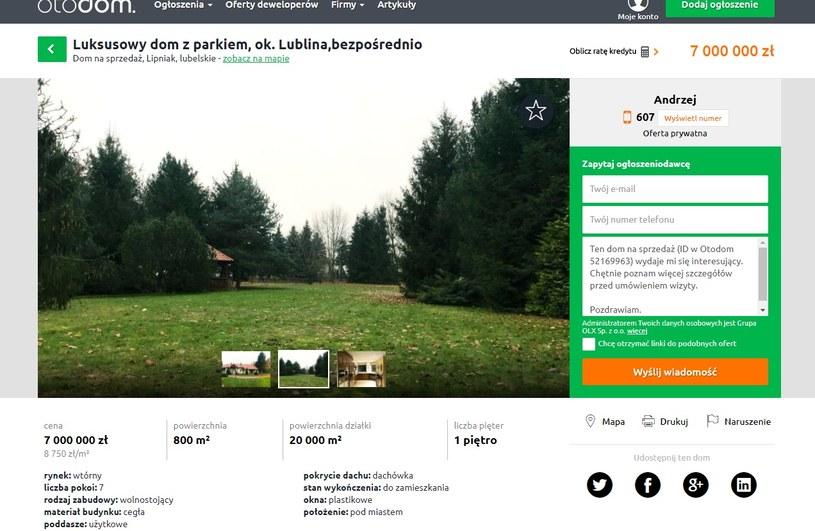 Willa Pietrasów (Screen ze strony: otodom.pl) /materiał zewnętrzny