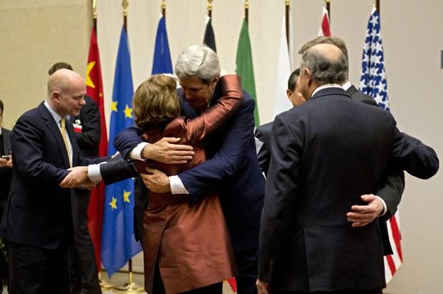 William Hague (L), Guido Westerwelle, Catherine Ashton (2-L), Mohammad-Javad Zarif, Wang Yi, John Kerry (3-L), Siergiej Ławrow, Laurent Fabius /MARTIAL TREZZINI /PAP/EPA