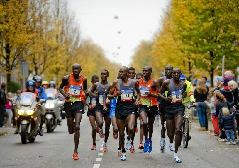 Wilson Chebet (pierwszy numer startowy) na trasie maratonu w Amsterdamie /AFP