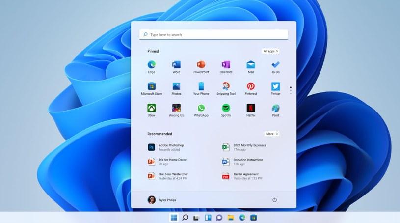 Windows 11 i nowe Menu Start /materiały prasowe