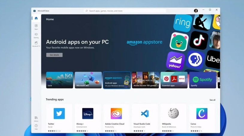 Windows 11 poradzi sobie z aplikacjami systemu Android /materiały prasowe