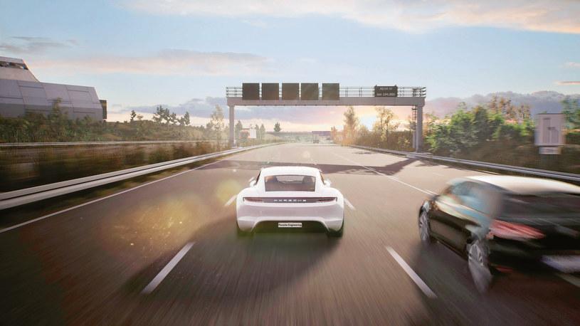 Wirtualna autostrada A8 w pobliżu lotniska w Stuttgarcie - symulacja Game Engine /