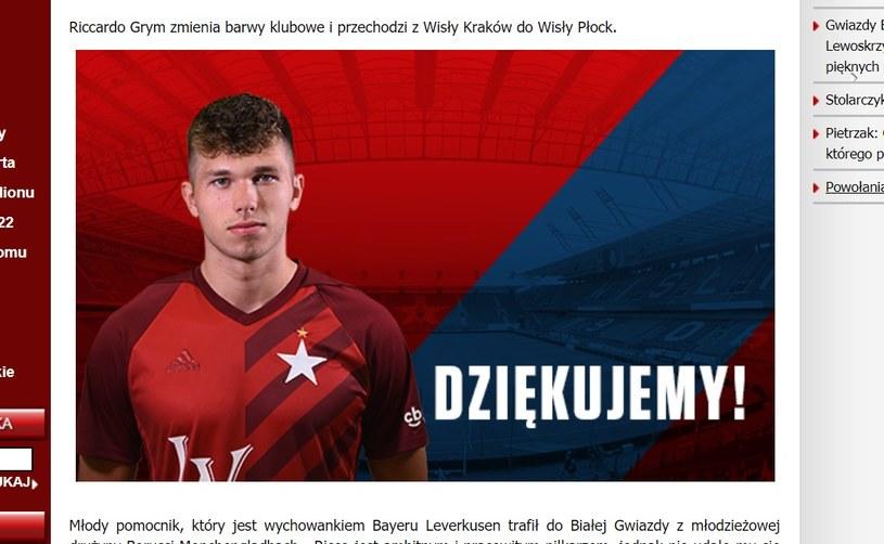 Wisła Kraków podziękowała Riccardo Grymowi za zaangażowanie. /INTERIA.PL