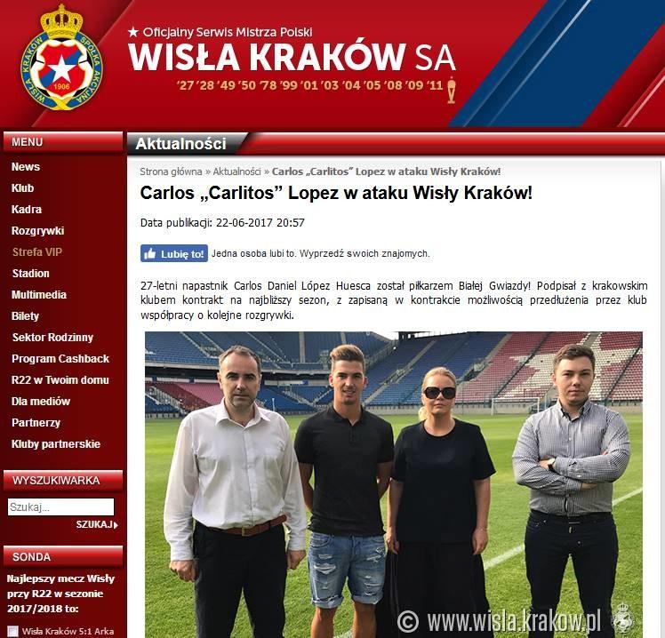 Wisła Kraków zaprezentowała Carlitosa; źródło: wisla.krakow.pl /