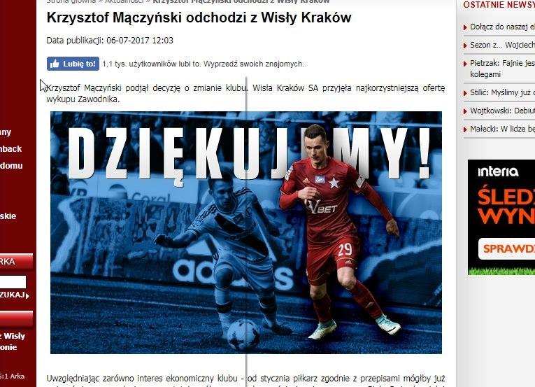 Wisła Kraków złożyła podziękowania Krzysztofowi Mączyńskiemu. /INTERIA.PL