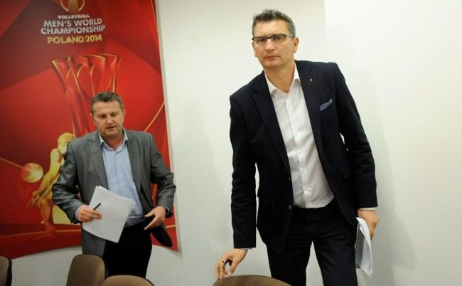 Witold Roman (z prawej) po posiedzeniu prezydium zarządu PZPS /Bartłomiej Zborowski /PAP