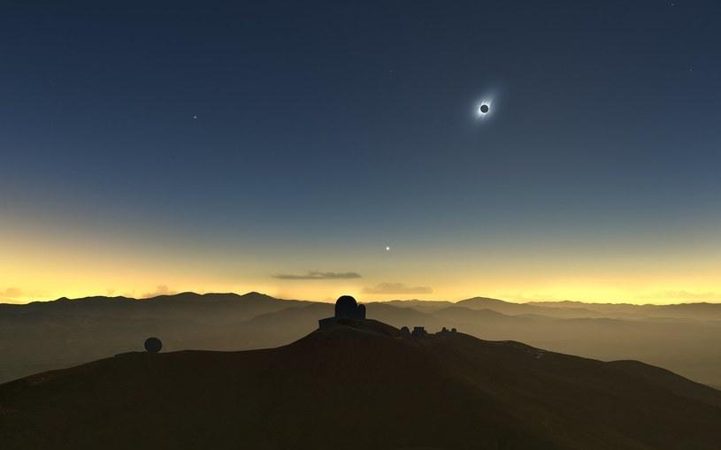 Wizja artystyczna całkowitego zaćmienia Słońca widzianego z Obserwatorium La Silla /materiały prasowe