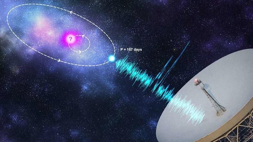Wizja artystyczna FRB 121102 - jest wywoływana przez magnetar krążący wokół progenitora gwiazdy neutronowej /materiały prasowe