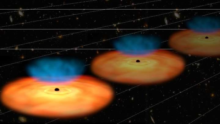 Wizja artystyczna kwazarów jako kosmicznych kamieni milowych /NASA