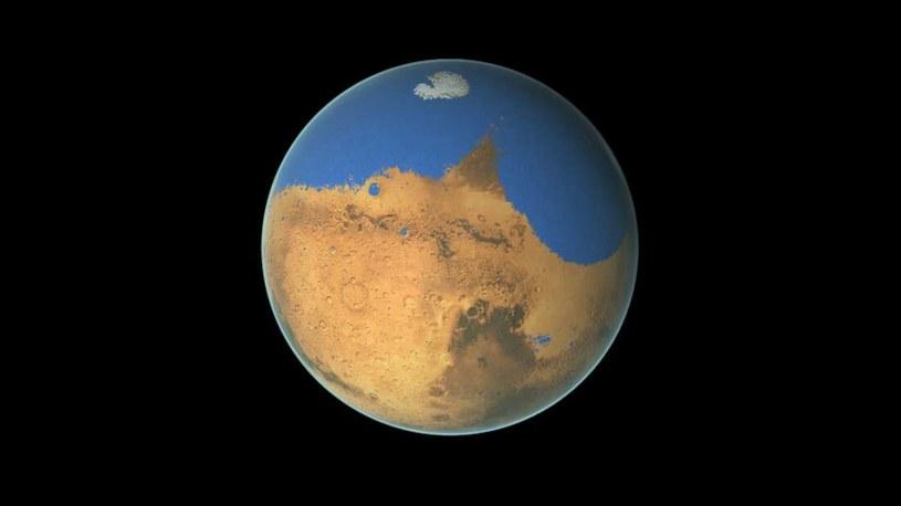 Wizja artystyczna Marsa pokrytego oceanami /materiały prasowe