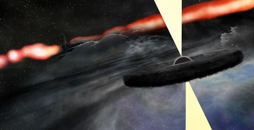 Wizja artystyczna nowo odkrytej hipotetycznej czarnej dziury orbitującej wokół centralnego obiektu /materiały prasowe