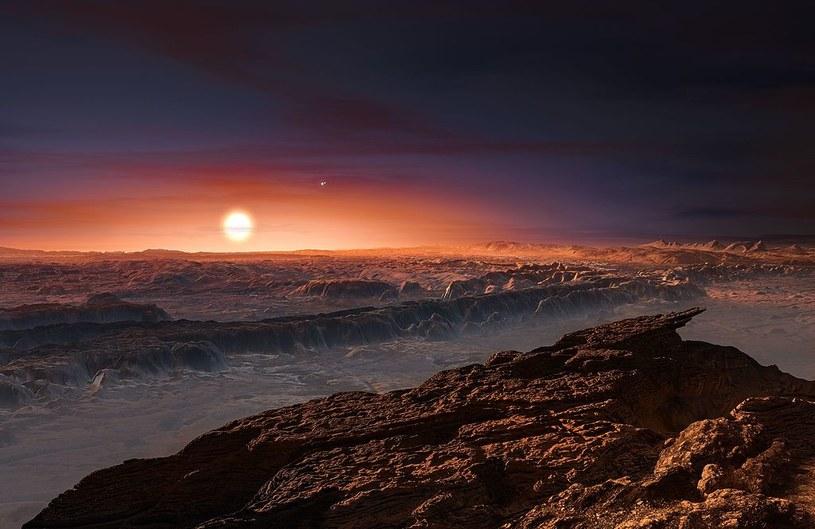 Wizja artystyczna planety w układzie Proxima Centauri (gwiazda w tle) /materiały prasowe