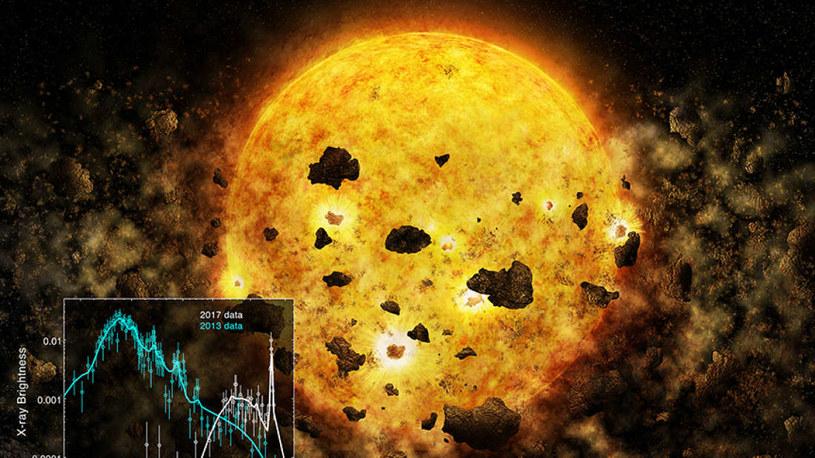 Wizja artystyczna RW Aur A pożerającej planetę /materiały prasowe