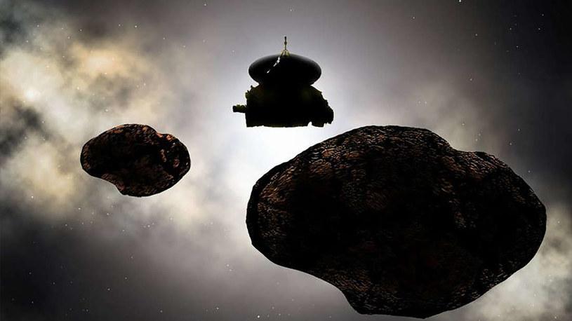 Wizja artystyczna sondy New Horizons zbliżającej się do MU69 /materiały prasowe