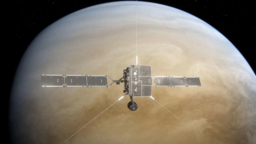 Wizja artystyczna sondy Solar Orbiter mijającej Wenus /materiały prasowe